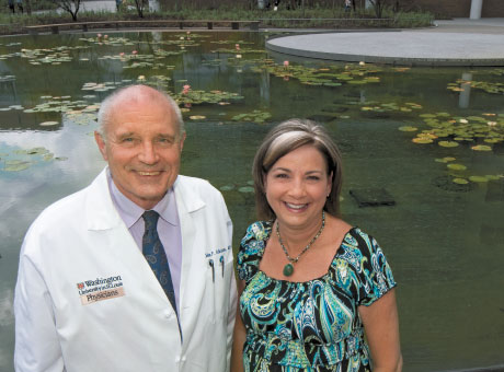 John P. Atkinson, MD, and Kim Morey at the medical center's Ellen S. Clark Hope