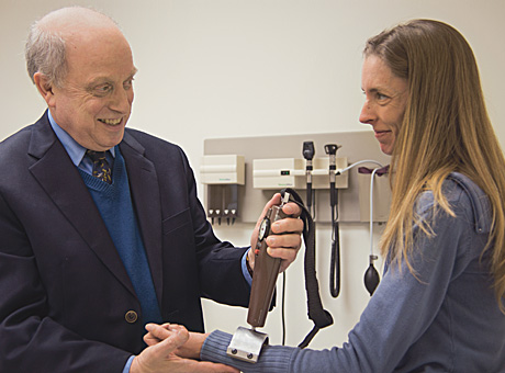 Alan Pestronk, MD, director of the Neuromuscular Division, with patient Gretchee