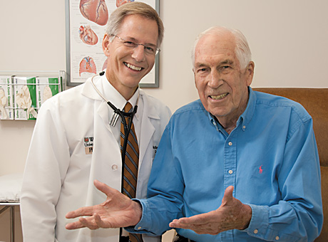 Alan C. Braverman, MD, with cardiology patient Bill Stobbs.