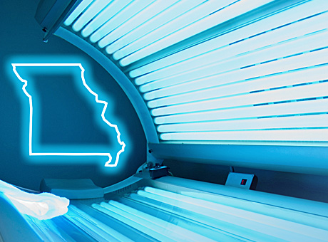 tanning bed with Missouri logo