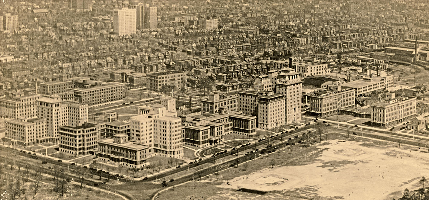Barnes Hospital and the Washington University School of Medicine campus, 1931.