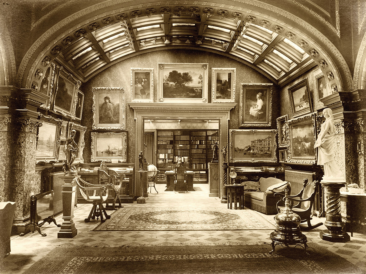 Art gallery in William Bixby's palatial home, c. 1904.
