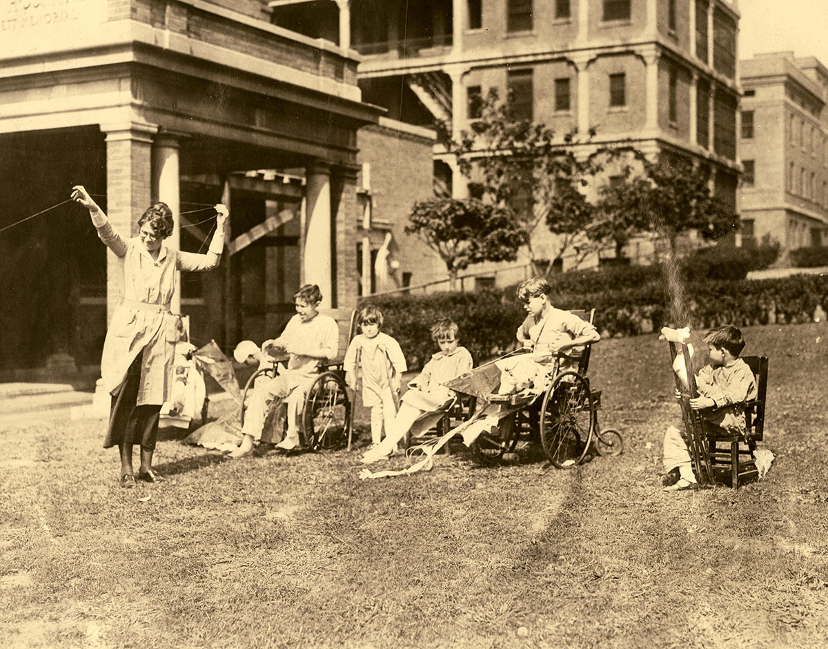 St. Louis Children's Hospital patients flying kites in 1924.
