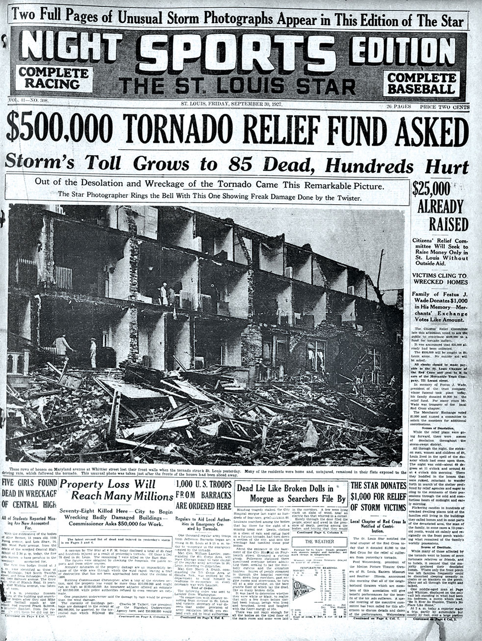 The St. Louis Star newspaper reports on the powerful tornado that devastated parts of the Central West End in 1927.