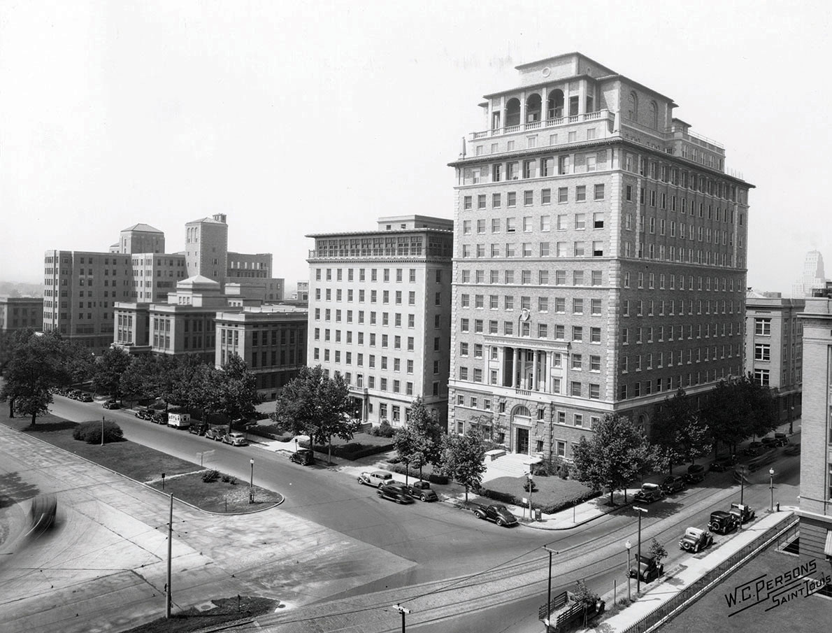 From 1940, a view of Barnes Hospital buildings, St. Louis Maternity Hospital and McMillan Hospital.