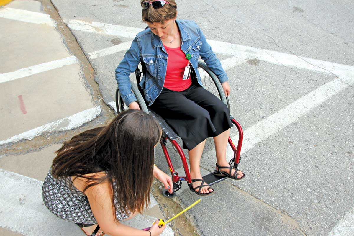 Assessing sidewalk conditions for wheelchair users.